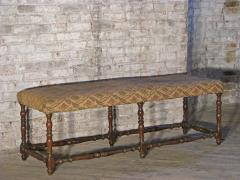 Pair of Long French early 18th Century Upholstered Walnut Benches - 1073254