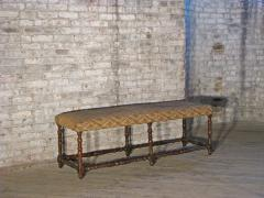 Pair of Long French early 18th Century Upholstered Walnut Benches - 1073255