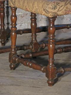 Pair of Long French early 18th Century Upholstered Walnut Benches - 1073256