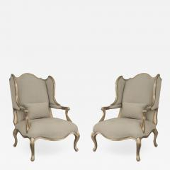 Pair of Louis XV Gilt Wing Berga Chairs - 1407589