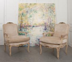Pair of Louis XV Style Cr me Peinte and Gold Gilt Fauteuils - 925245