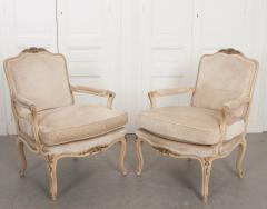 Pair of Louis XV Style Cr me Peinte and Gold Gilt Fauteuils - 925253