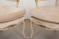 Pair of Louis XV Style Cr me Peinte and Gold Gilt Fauteuils - 925255