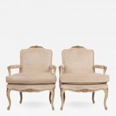 Pair of Louis XV Style Cr me Peinte and Gold Gilt Fauteuils - 926177