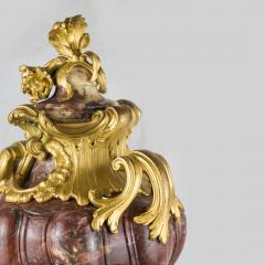 Pair of Louis XV Style Gilt Bronze Mounted and Fleur de P cher Marble Cassolets - 2034249