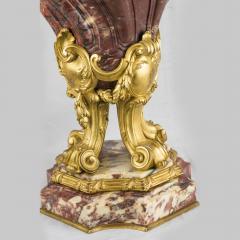 Pair of Louis XV Style Gilt Bronze Mounted and Fleur de P cher Marble Cassolets - 2034250