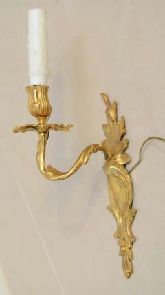 Pair of Louis XV Style Gilt Bronze Single Light Wall Appliques 19th Century - 396325