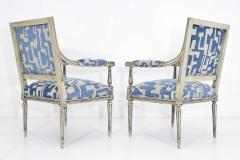 Pair of Louis XVI Style Lounge Chairs in Blue Taupe - 1410529