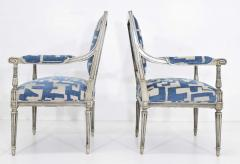 Pair of Louis XVI Style Lounge Chairs in Blue Taupe - 1410530