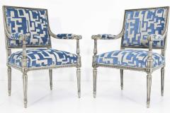 Pair of Louis XVI Style Lounge Chairs in Blue Taupe - 1410531