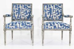 Pair of Louis XVI Style Lounge Chairs in Blue Taupe - 1410532