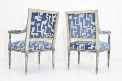Pair of Louis XVI Style Lounge Chairs in Blue Taupe - 1410533