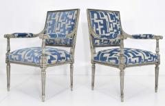 Pair of Louis XVI Style Lounge Chairs in Blue Taupe - 1410534