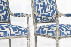 Pair of Louis XVI Style Lounge Chairs in Blue Taupe - 1410535