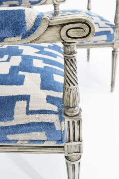 Pair of Louis XVI Style Lounge Chairs in Blue Taupe - 1410536