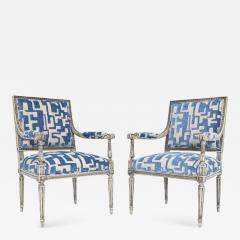 Pair of Louis XVI Style Lounge Chairs in Blue Taupe - 1411581