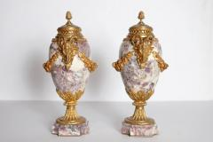 Pair of Louis XVI Style Marble Cassolettes with Gilt Bronze Mounts - 2006816