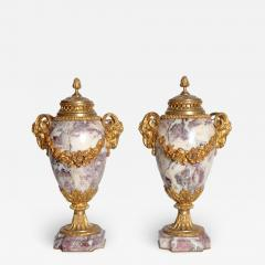 Pair of Louis XVI Style Marble Cassolettes with Gilt Bronze Mounts - 2028439
