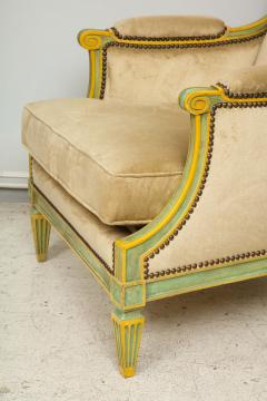 Pair of Louis XVI Style Painted Bergeres Attributed to Maison Jansen - 1112856