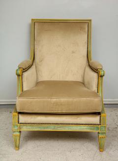 Pair of Louis XVI Style Painted Bergeres Attributed to Maison Jansen - 1112857