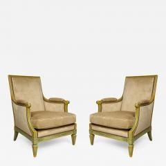 Pair of Louis XVI Style Painted Bergeres Attributed to Maison Jansen - 1131667