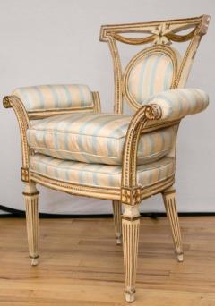 Pair of Louis XVI Style Parcel Gilt Upholstered Fauteuils - 671545