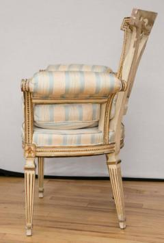 Pair of Louis XVI Style Parcel Gilt Upholstered Fauteuils - 671546