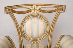 Pair of Louis XVI Style Parcel Gilt Upholstered Fauteuils - 671548