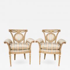 Pair of Louis XVI Style Parcel Gilt Upholstered Fauteuils - 672124