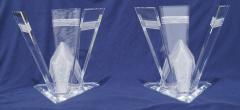 Pair of Lucite Glacier Iceberg Sculptural End Side Tables Glass Top - 2014907