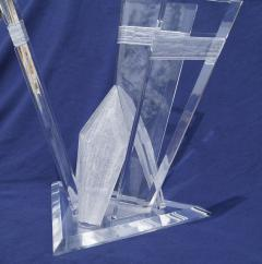 Pair of Lucite Glacier Iceberg Sculptural End Side Tables Glass Top - 2014909