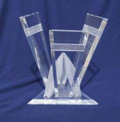 Pair of Lucite Glacier Iceberg Sculptural End Side Tables Glass Top - 2014912