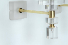 Pair of Lucite and Brass Sconces - 1194636