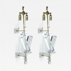 Pair of Lucite and Brass Sconces - 1195177