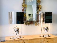 Pair of Lucite and Stainless Steel Modern Skull Table Lamps - 1397711