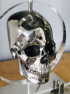 Pair of Lucite and Stainless Steel Modern Skull Table Lamps - 1397714
