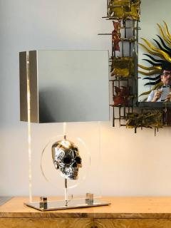 Pair of Lucite and Stainless Steel Modern Skull Table Lamps - 1397723