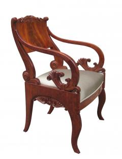 Pair of Mahogany Empire Armchairs - 1853908