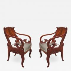 Pair of Mahogany Empire Armchairs - 1853981