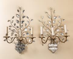 Pair of Maison Bagues gilt metal and glass sconces - 1888551