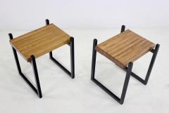 Pair of Metal Staved Oak Artisan Side Tables - 1063001
