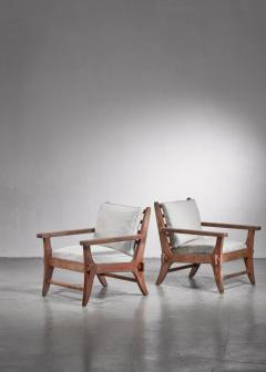 Pair of Mexican Modernist pine armchairs - 1702764