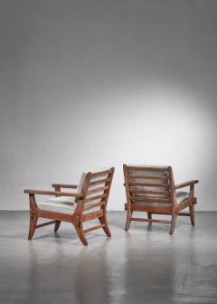 Pair of Mexican Modernist pine armchairs - 1702765