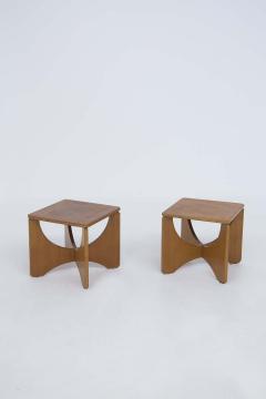 Pair of Mid Century American Wooden Stools - 2126760