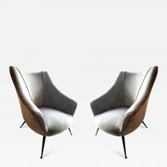 Pair of Mid Century Barrel Shaped Club Chairs Italy circa 1955 - 993457