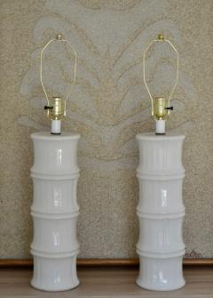 Pair of Mid Century Blanc de Chine Bamboo Form Table Lamps - 1023665