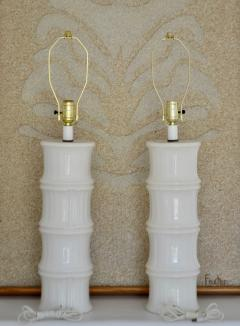Pair of Mid Century Blanc de Chine Bamboo Form Table Lamps - 1023666