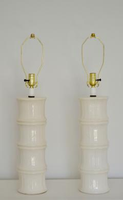 Pair of Mid Century Blanc de Chine Bamboo Form Table Lamps - 1023667