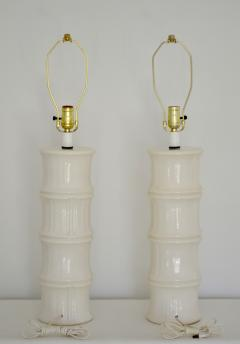 Pair of Mid Century Blanc de Chine Bamboo Form Table Lamps - 1023668