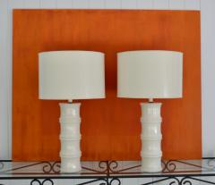 Pair of Mid Century Blanc de Chine Bamboo Form Table Lamps - 1023671